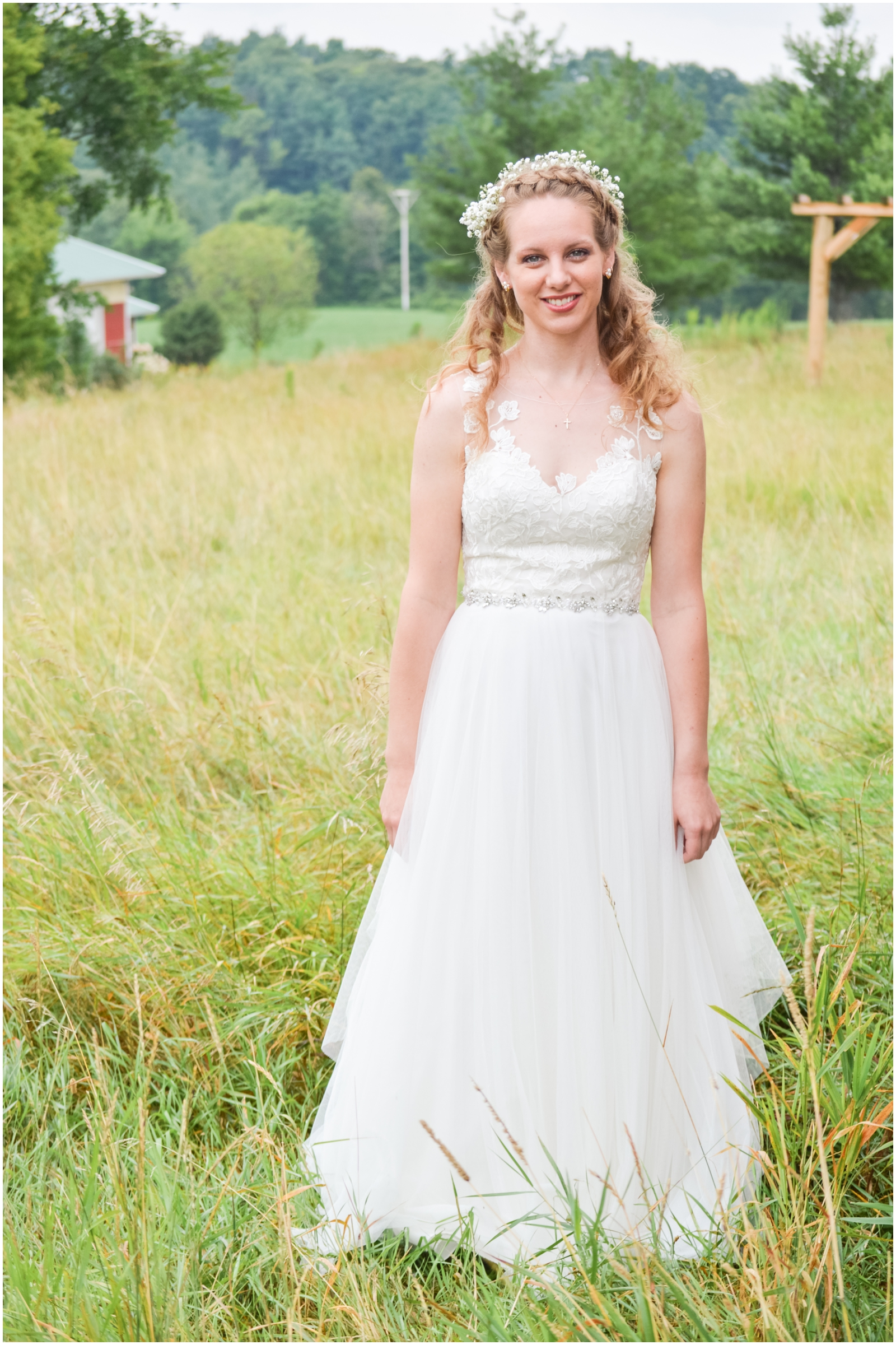 bride wearing a lovely white dress and flower crown