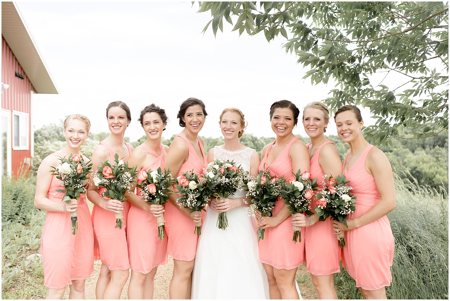 Chaska Wedding Venue MN. Bride with her bridesmaids before the wedding in MN
