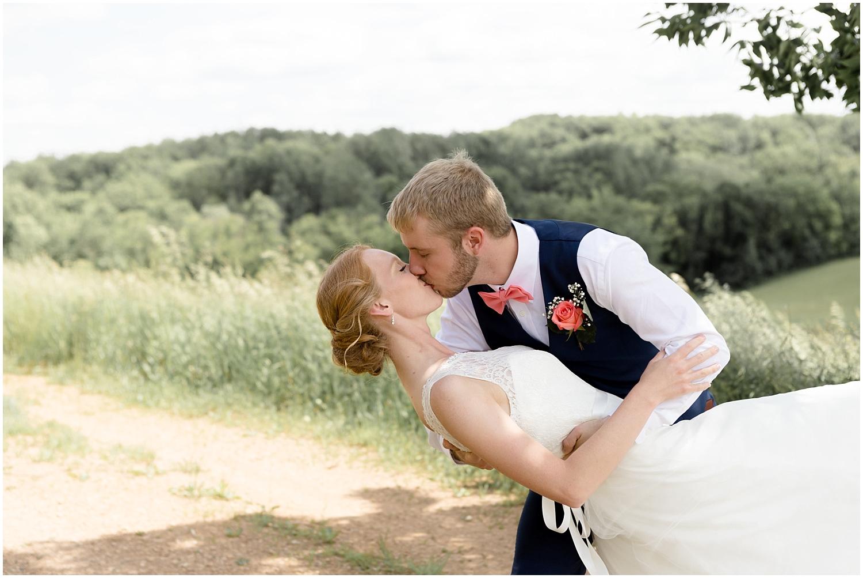 Chaska Wedding Venue MN. Bride and groom kiss