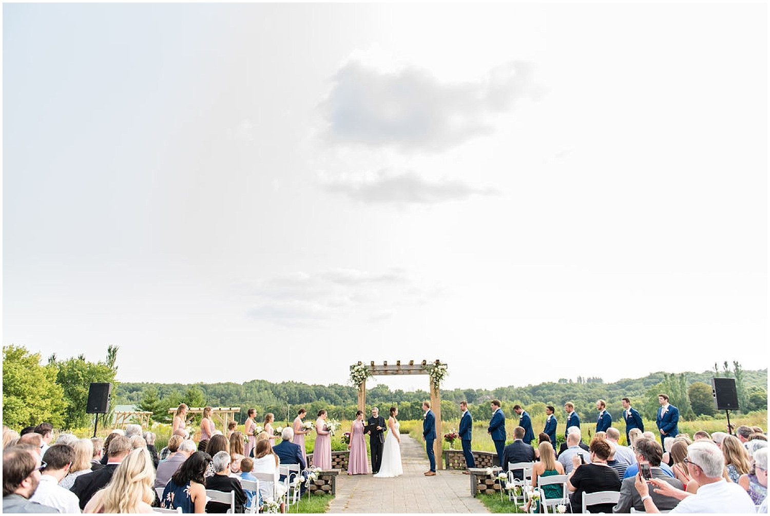 bride and groom at their outdoor MN wedding