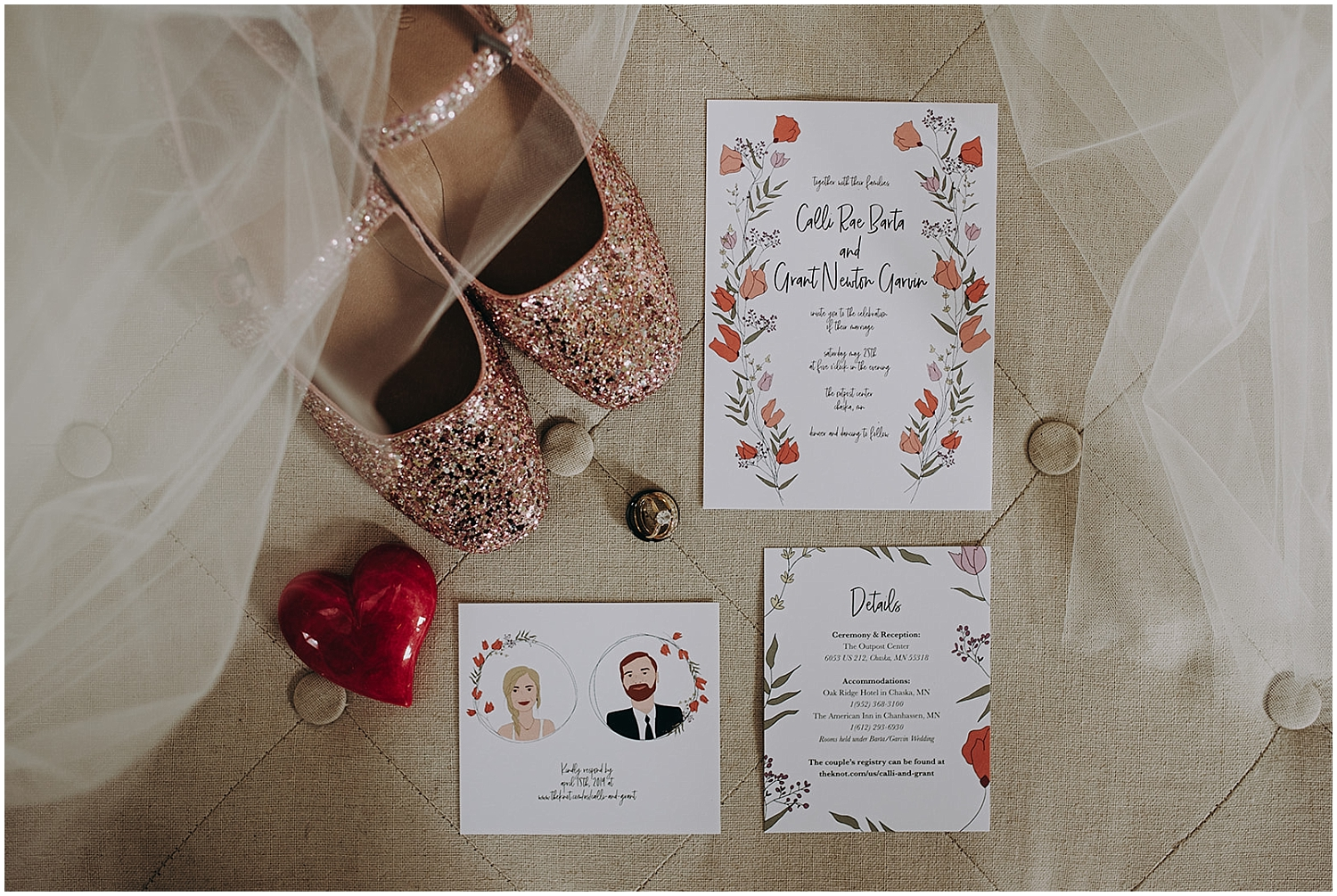 Wedding shoes and wedding invitation