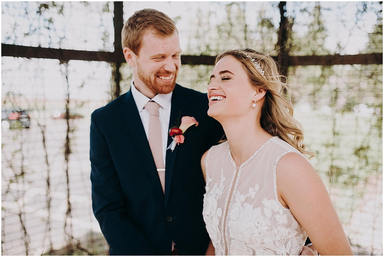 Bride and groom's first look before their MN wedding
