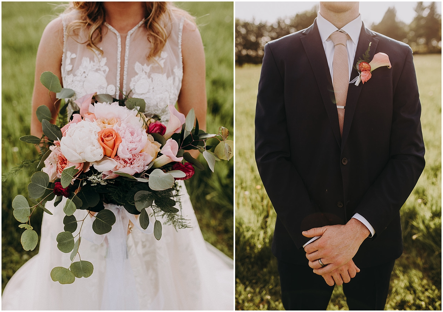 detail shot of the bride's wedding bouquet and groom's look and boutonniere