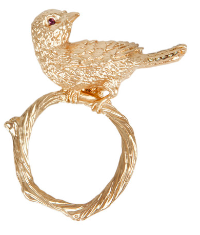 Gold bird napkin rings