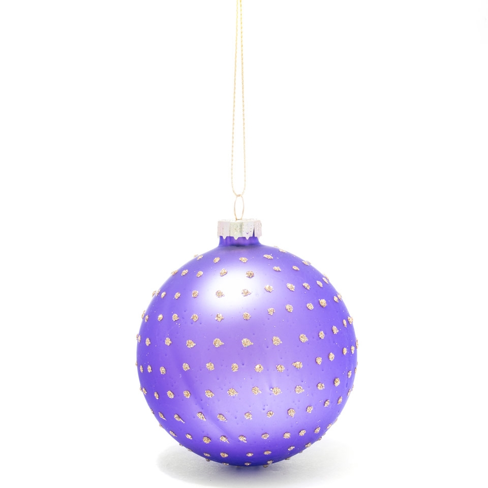 Matt purple dot bauble