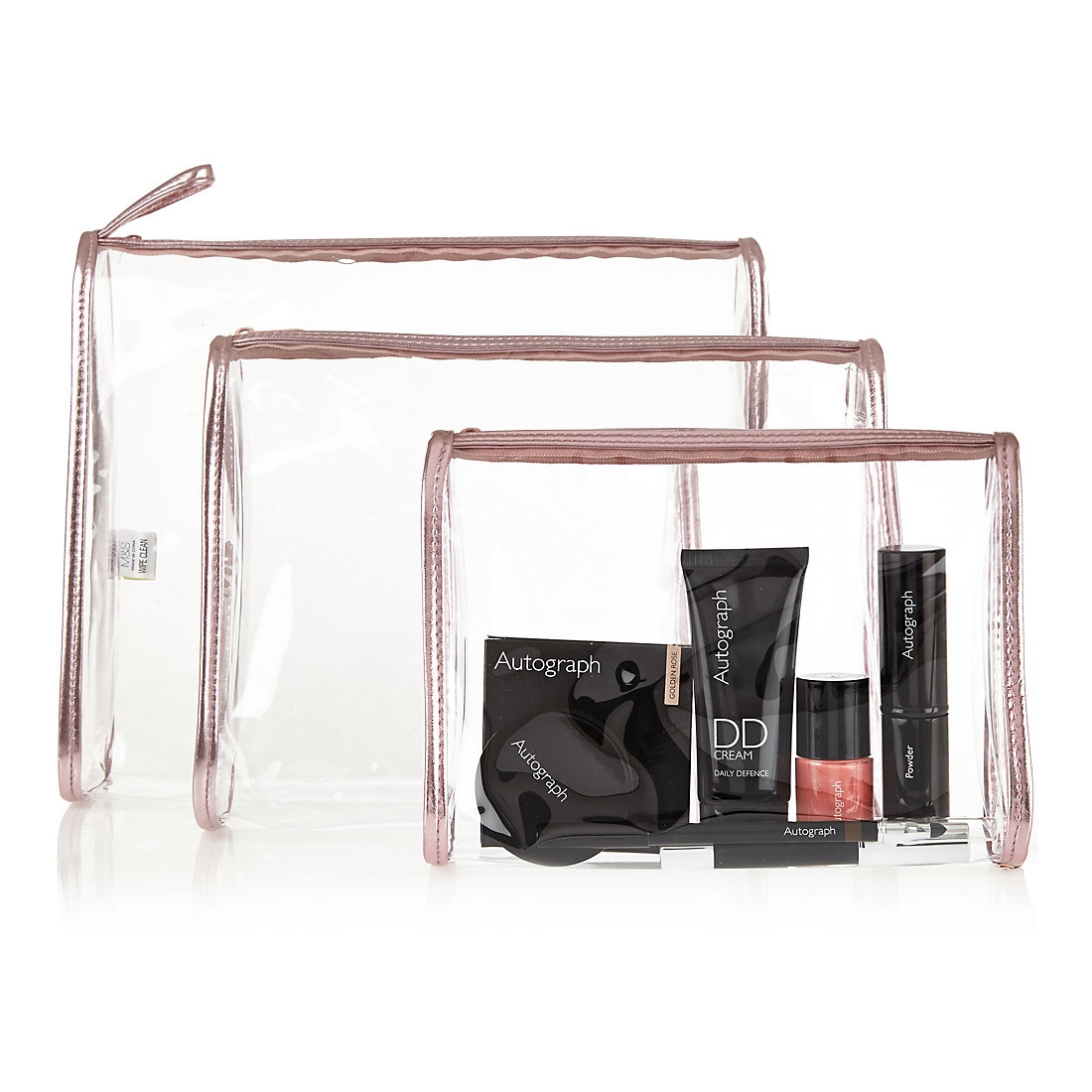 Clear Cosmetic Case Set £7.50