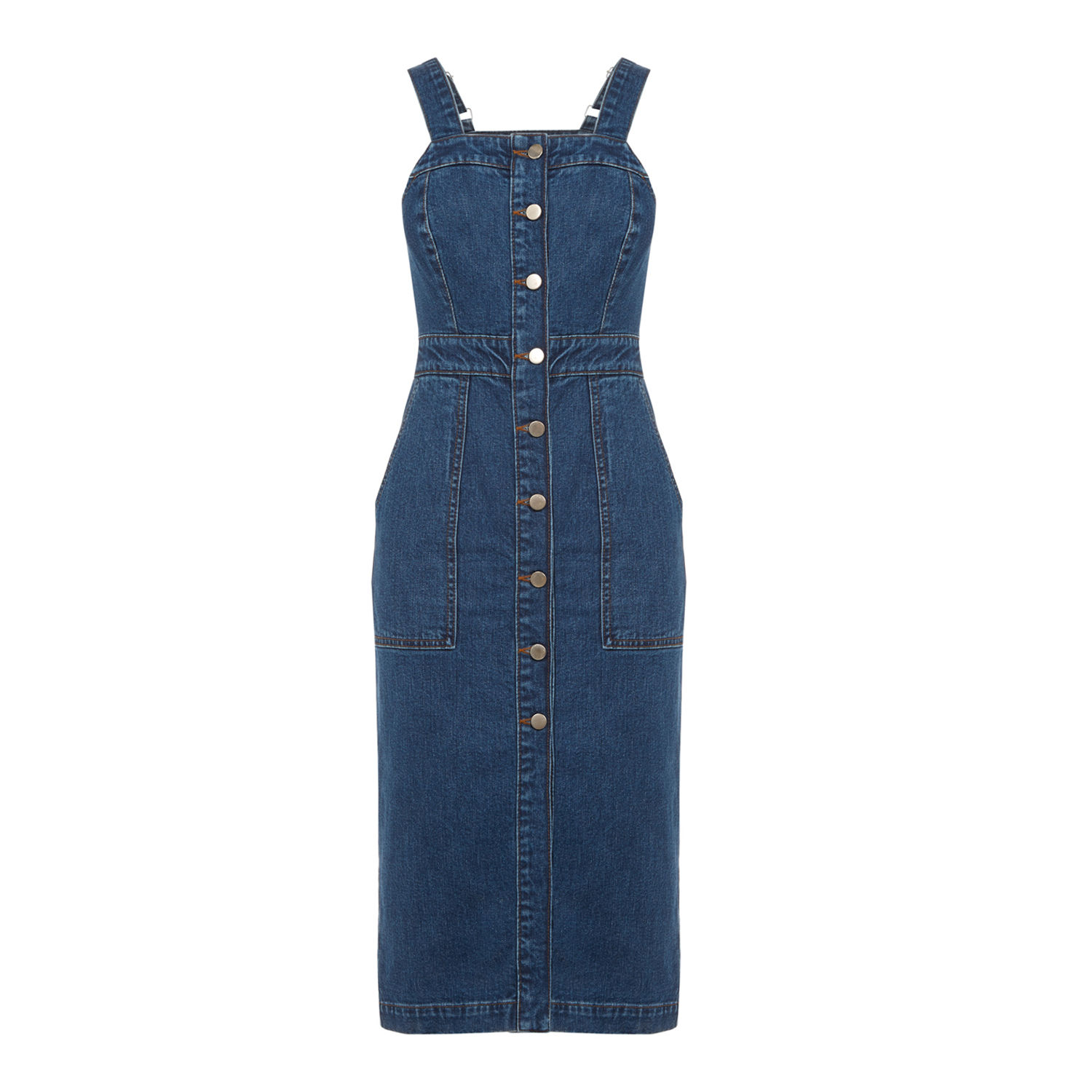 Button Through Denim Midi