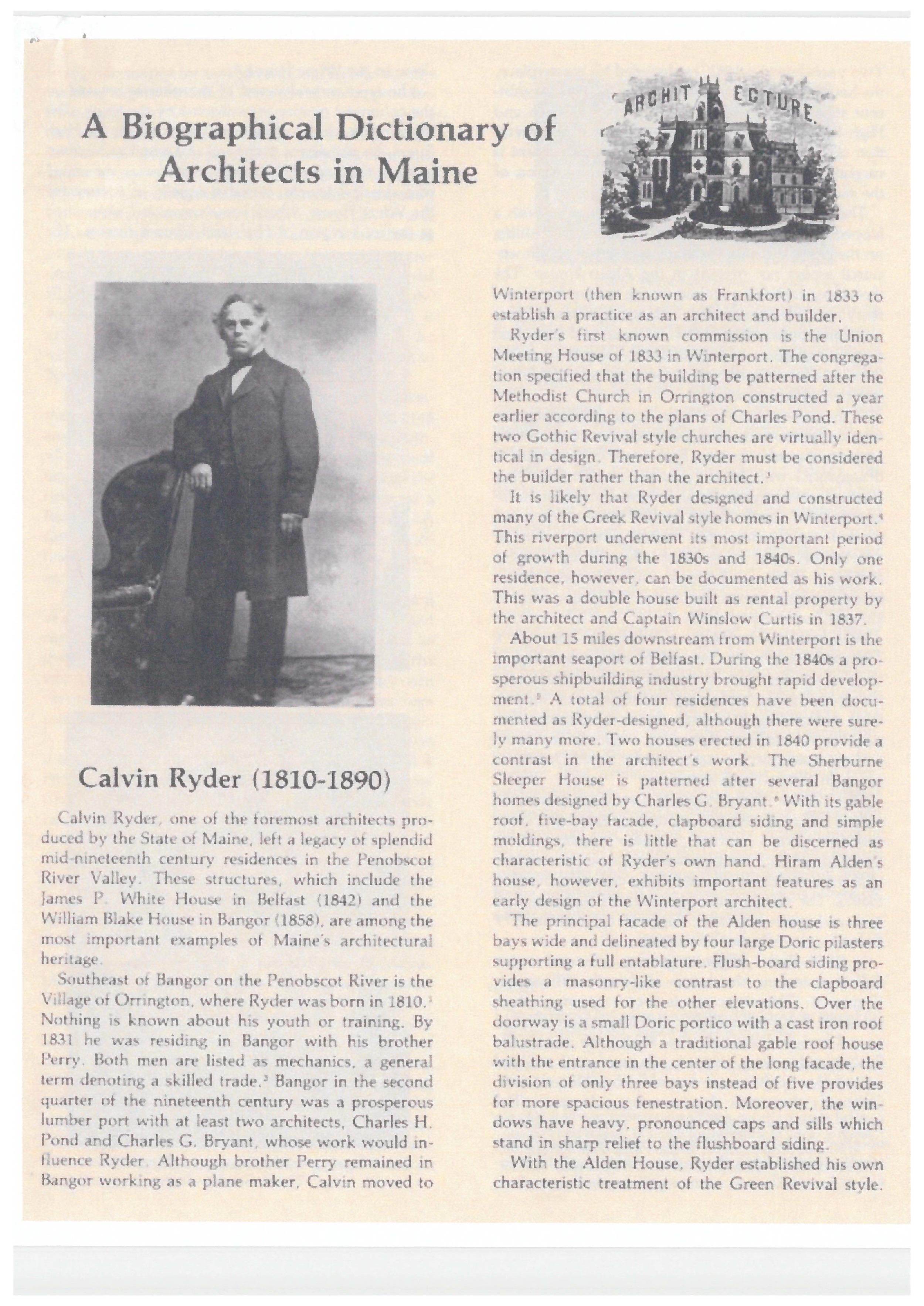 Biography of Calvin Ryder, the original architect of 6 Union Park.