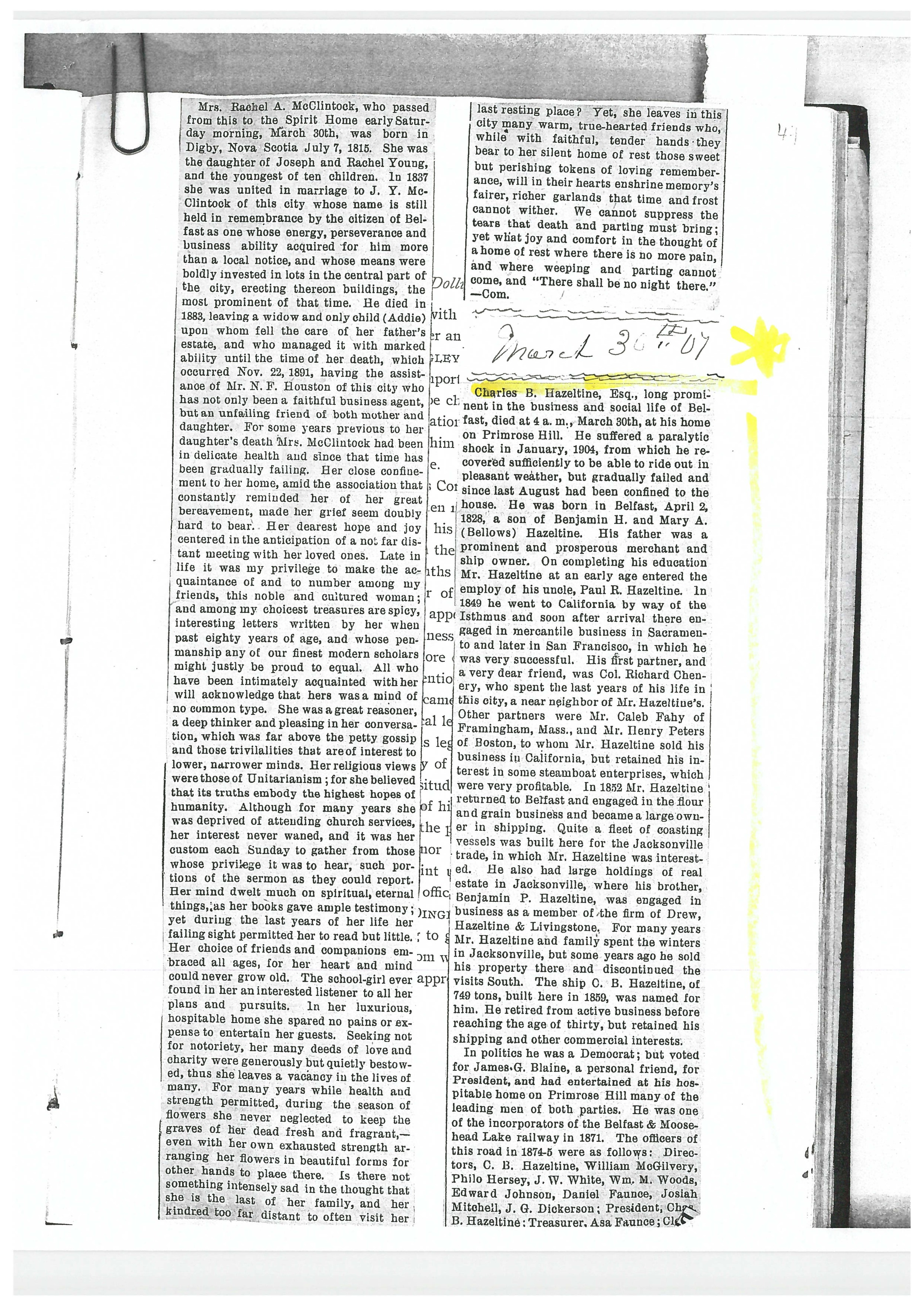 The obituary of Charles, 1904.