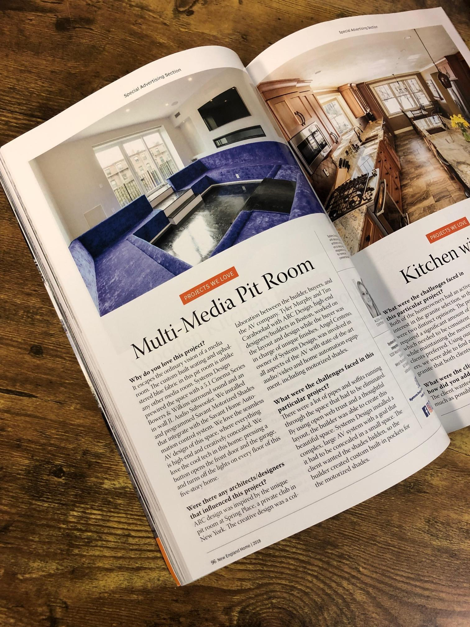Arc Design featured in New England Home, 2018, for 11 Rutland Square