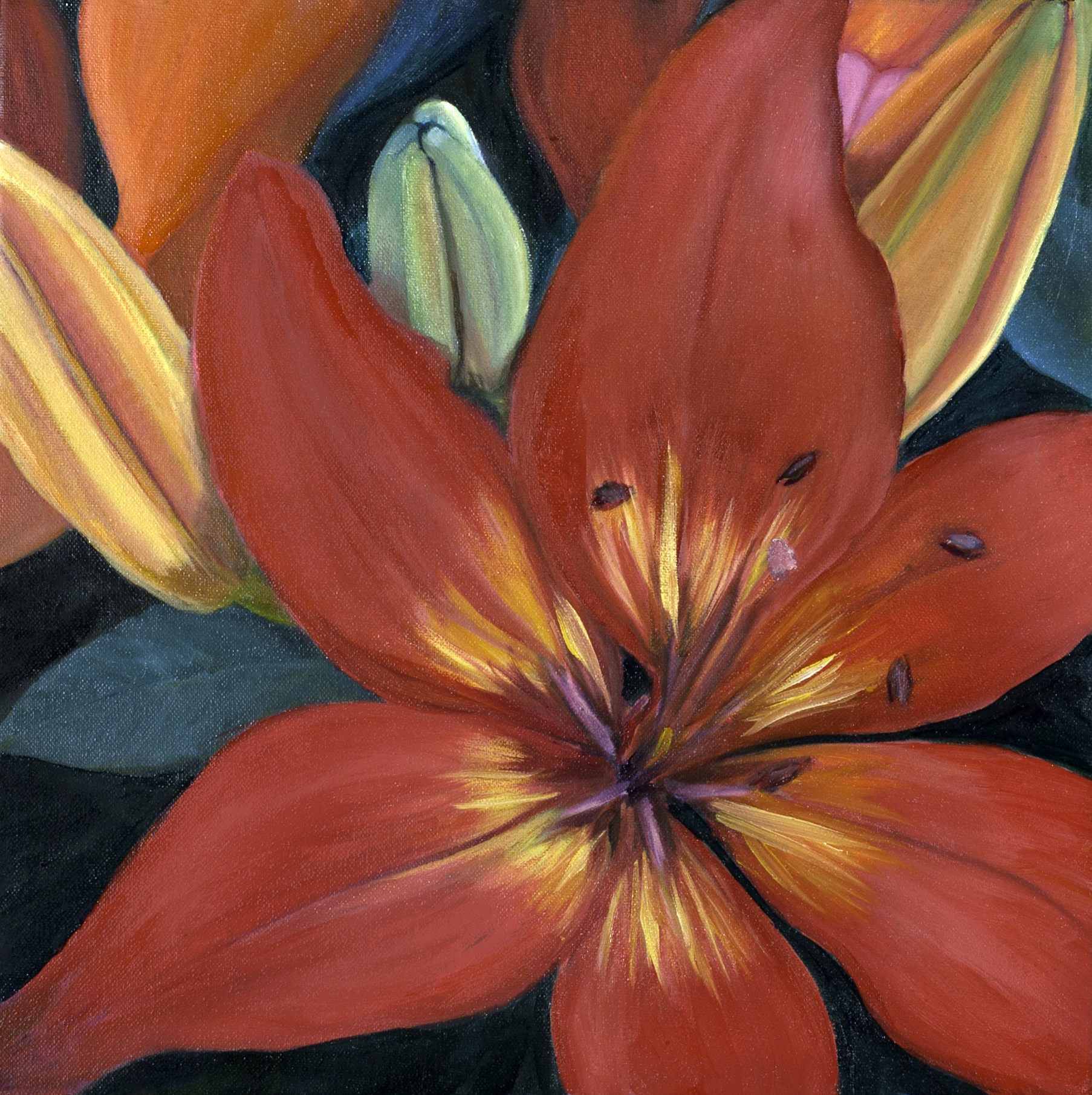 A Bowl of Lilies (Triptych)