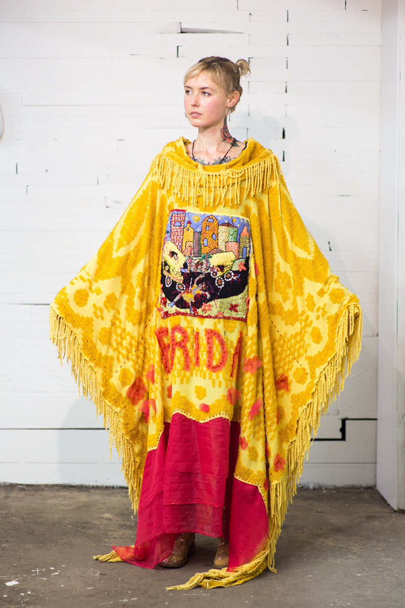 a series of hand-sewn and embroidered ceremonial vestments depicting notable women undergoing incidents of transformational violence. 2017   FRIDA ; mixed natural and synthetic fibers; one size; 2017  (photo by    ryan patrick krueger  )