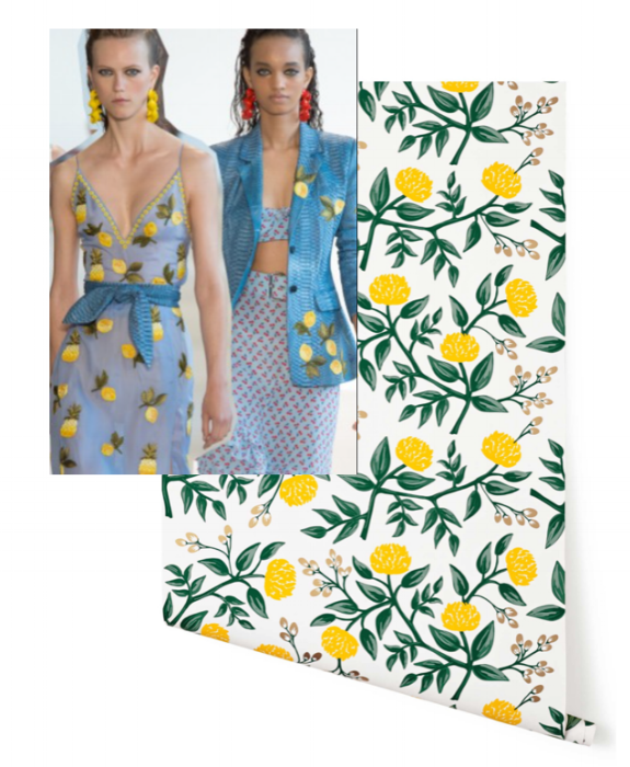 Altuzarra Blazer and Dress Hygge & West Riffle Paper Co. Wallpaper: Loving this wallpaper which combines two of my favorite trends - yellow and florals!