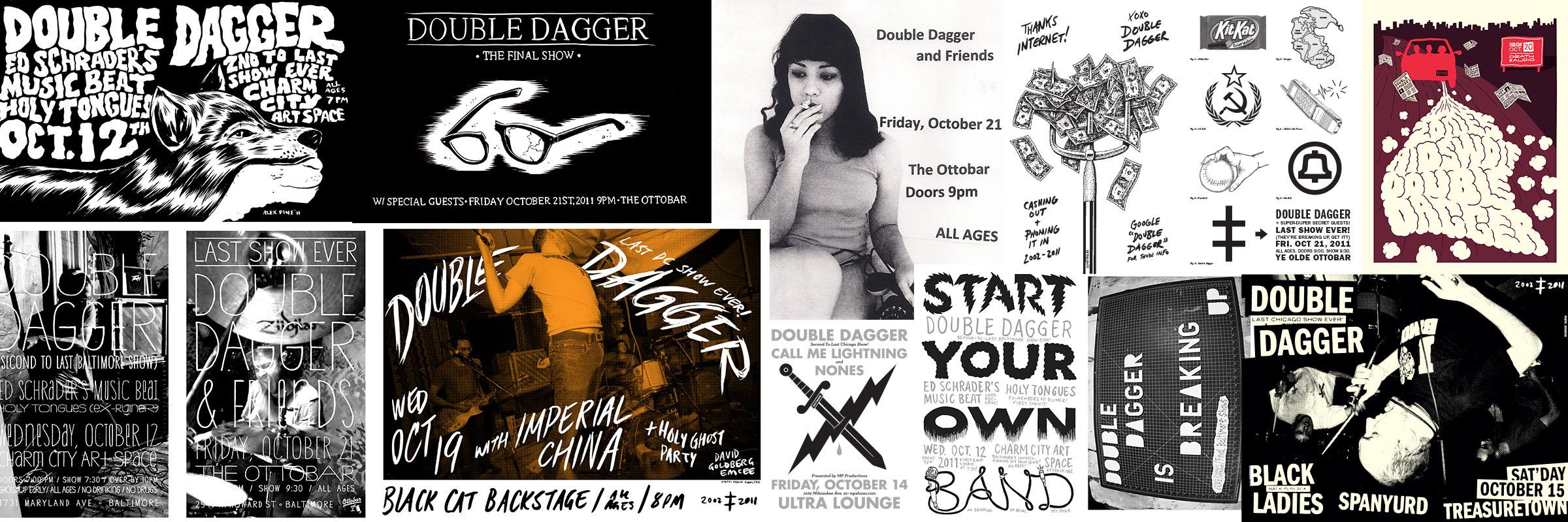 Double Dagger's homemade final tour flyers.
