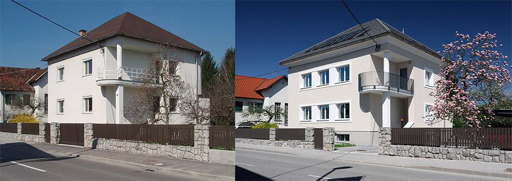 Energetska sanacija dvostanovanjske hiše (levo: stanje pred prenovo. desno: stanje po prenovi)