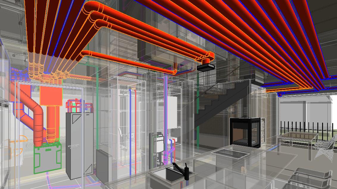 Stojnica in 3D razvod inštalacij v hiši Mengeš