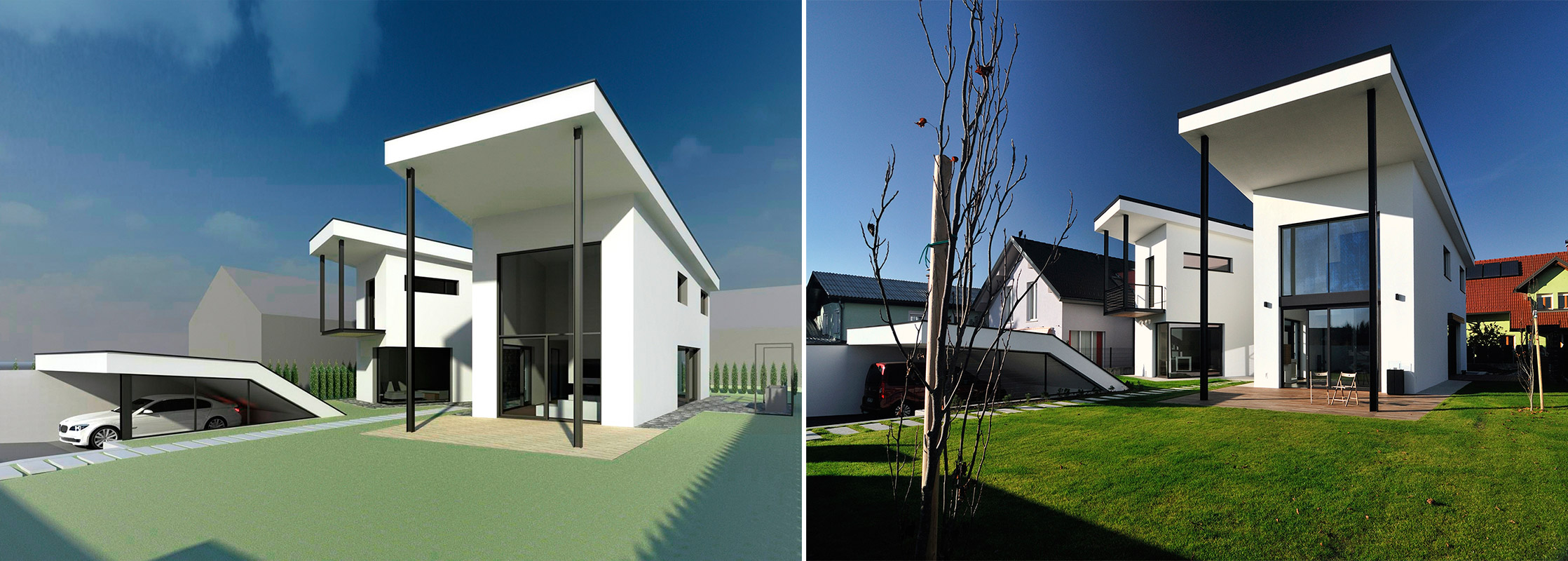 levo: 3D hitra vizualizacija v fazi idejne zasnove / desno: izvedeno stanja