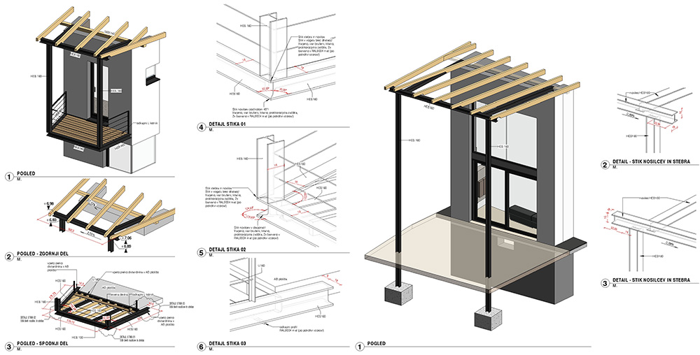 jeklena konstrukcija nadstreškov vzhodnega in zahodnega trakta hiše