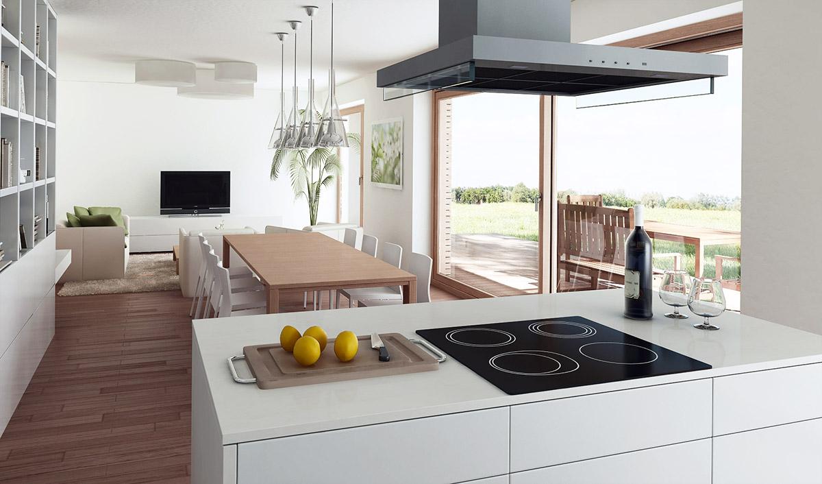 Pogled iz kuhinje proti dnevni sobi in pokriti zunanji terasi.