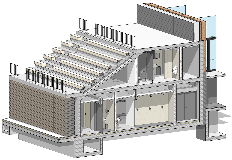 BIM model - 3D prerez preko tribun