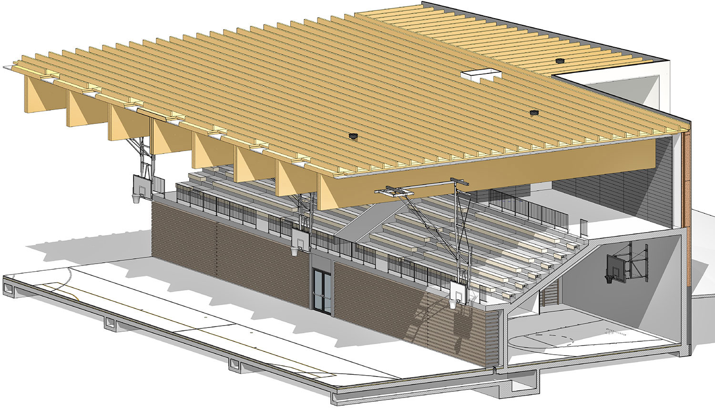 Prerez BIM modela preko tribun in lesena strešna konstrukcija.