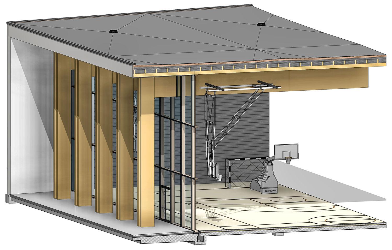 Delni prerez BIM modela čez južno stekleno fasado dvorane.