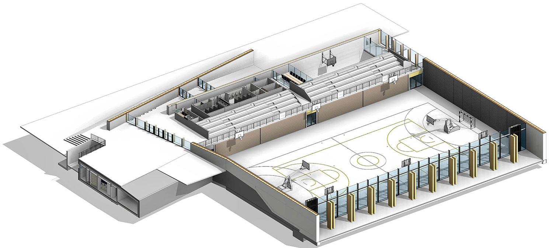Tloris pritličja z vhodno avlo, velikim vadbenim prostorom in ogevlano dvorano pod tribunami.