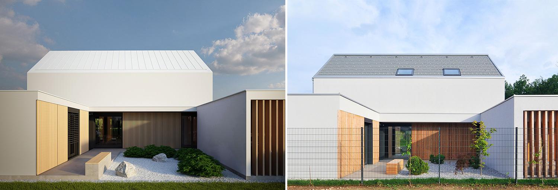 Primerjava idejne zasnove (levo) in izvedenega stanja (desno).