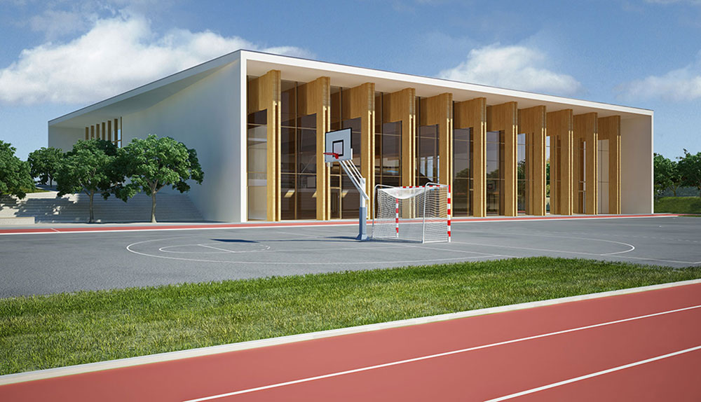 Vizualizacija zunanjosti modela dvorane.