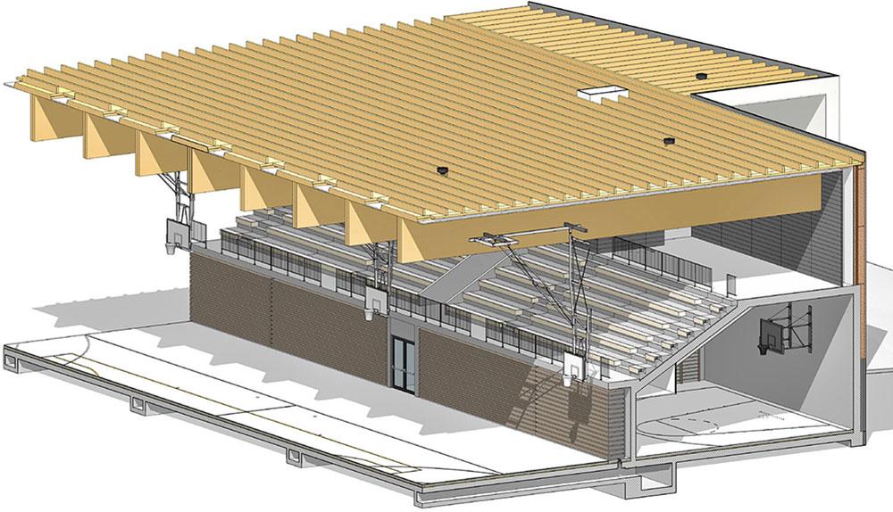 3D prerez BIM modela dvorane.