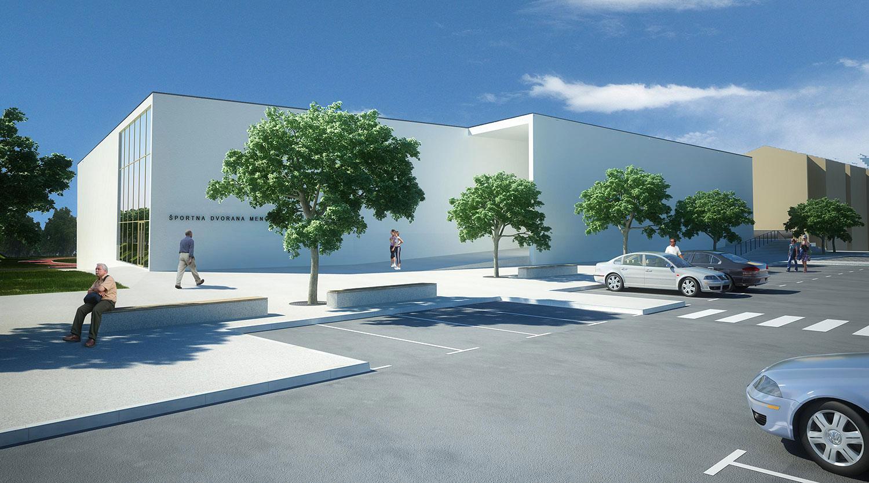 Pogled na novo športno dvorano iz parkirišča pred šolo.