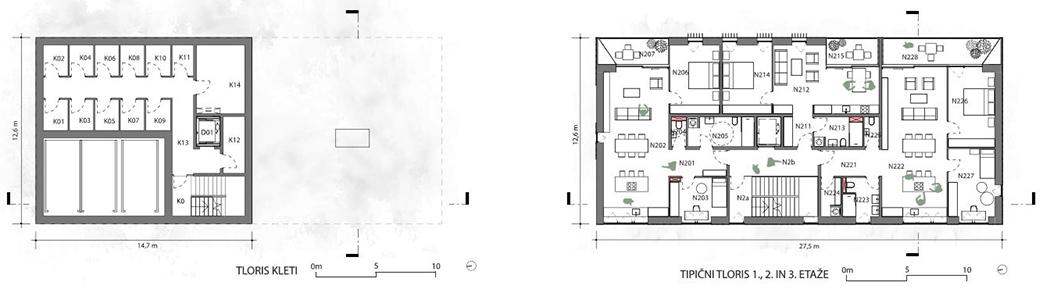 Tloris kleti in tipične etaže