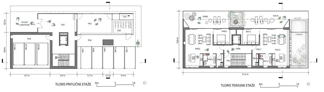 Tloris pritličja in terasne etaže