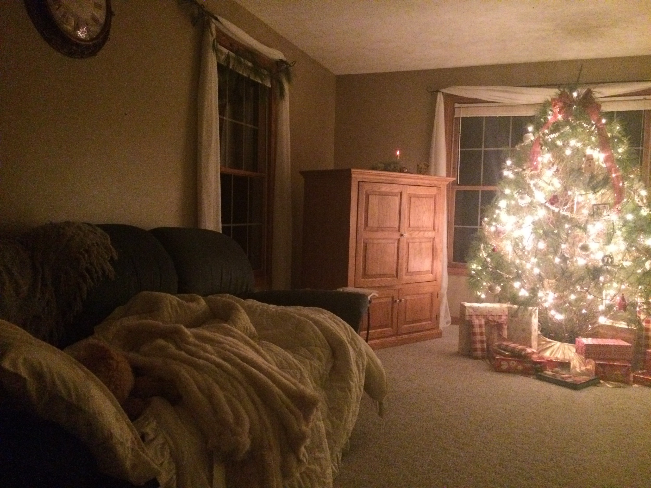 I dragged my comforter and pillow downstairs to sleep under the tree light tonight. Yes, it's magical. :)