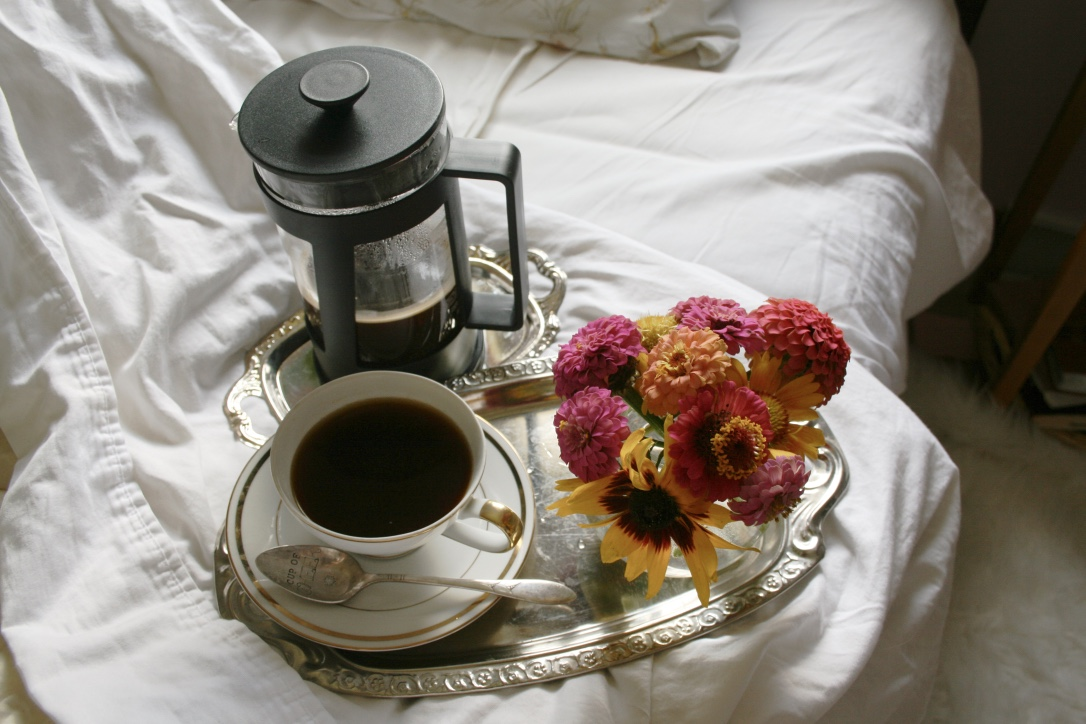 How to Manage Your Energy | French press coffee in bed + flowers|  Loveshyla.com