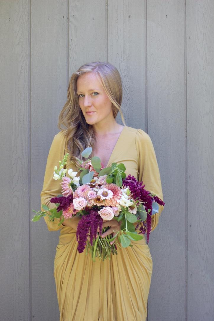 Creamy Autumn Bouquet, Gold Dress | Loveshyla.com