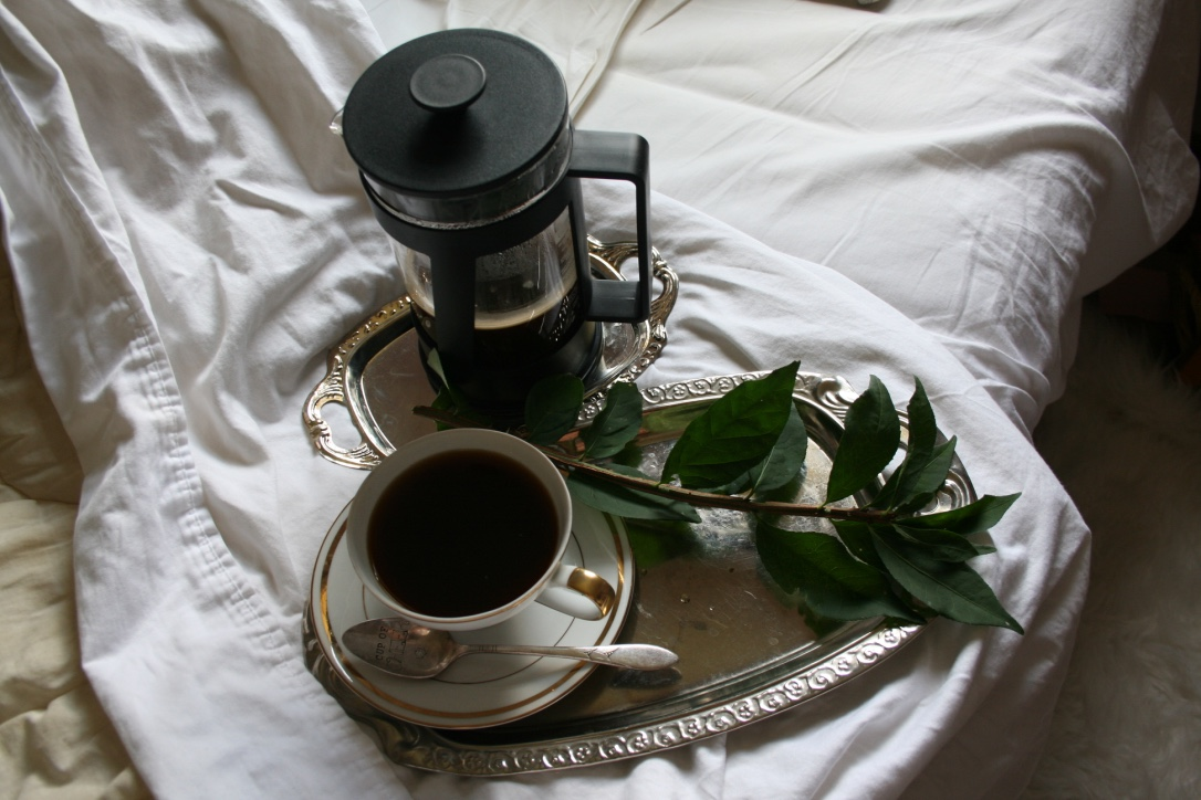 6 Tips for Productivity | French press coffee, in bed | Loveshyla.com