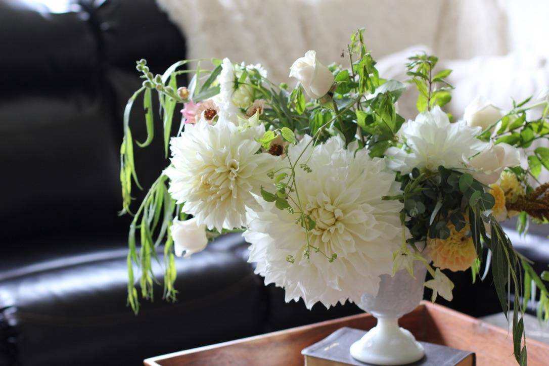 Ivory Blossom | Loveshyla.com | Farmer/ Florist in Bridgeport, WV | Dinnerplate Dahlia, Soft, natural ivory Bouquet | Floral design