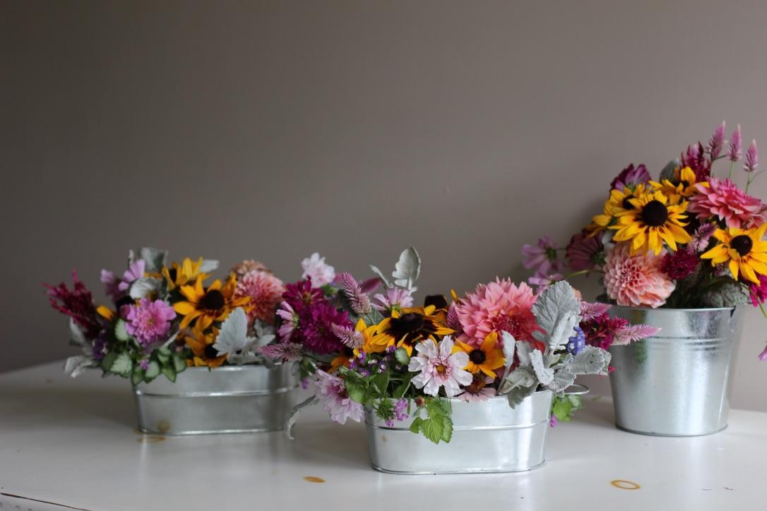 Gender Neutral Baby Shower Rustic Bouquet in Galvanized Pails