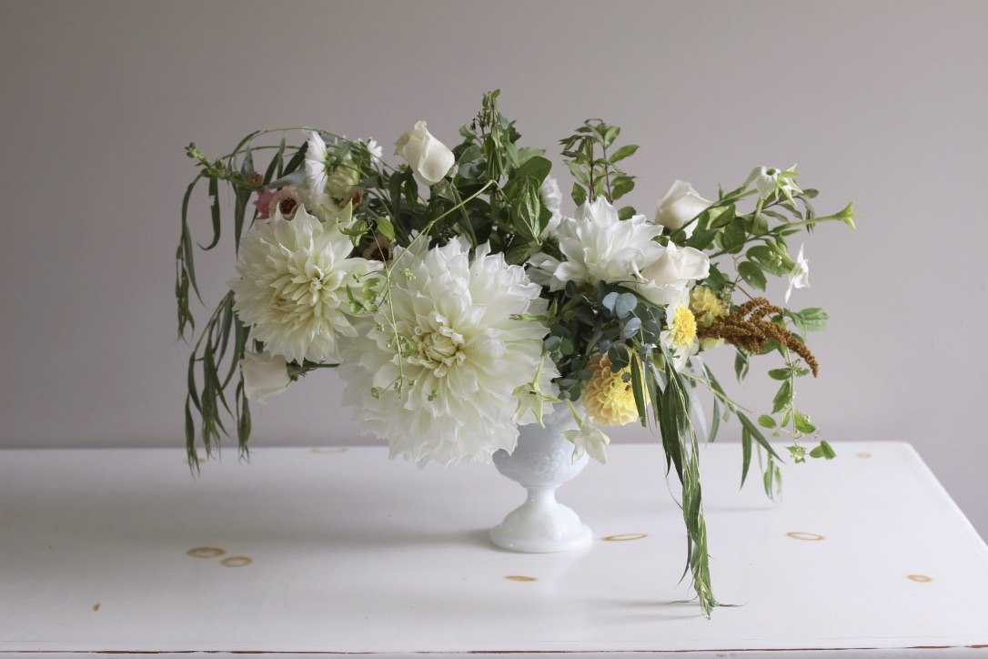 Ivory Blossom Bouquet | Inspired by Dinner-plate dahlia & weeping willow