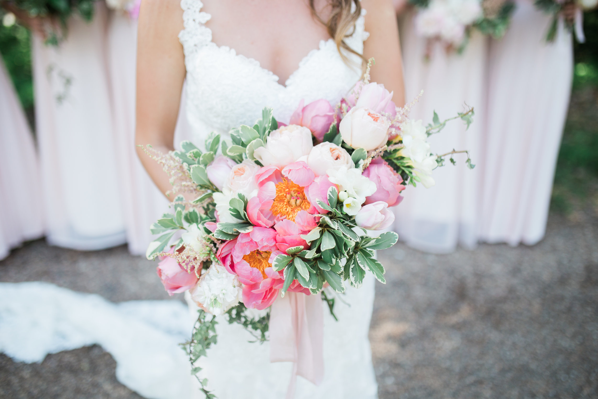 Wedding Flowers | Loveshyla.com | Coral charm peony, garden roses, romantic, blush pink