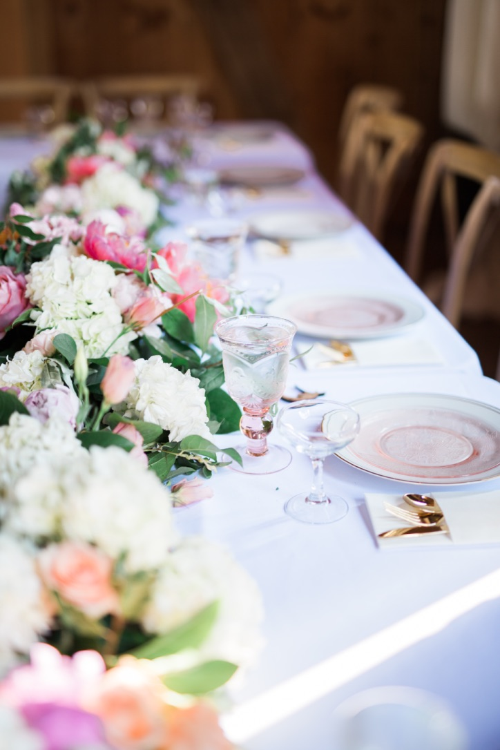 My Wedding Flowers | peonies, garden roses, pittosporum, romantic, feminine pink, floral table garland, head table, tablescape | loveshyla.com