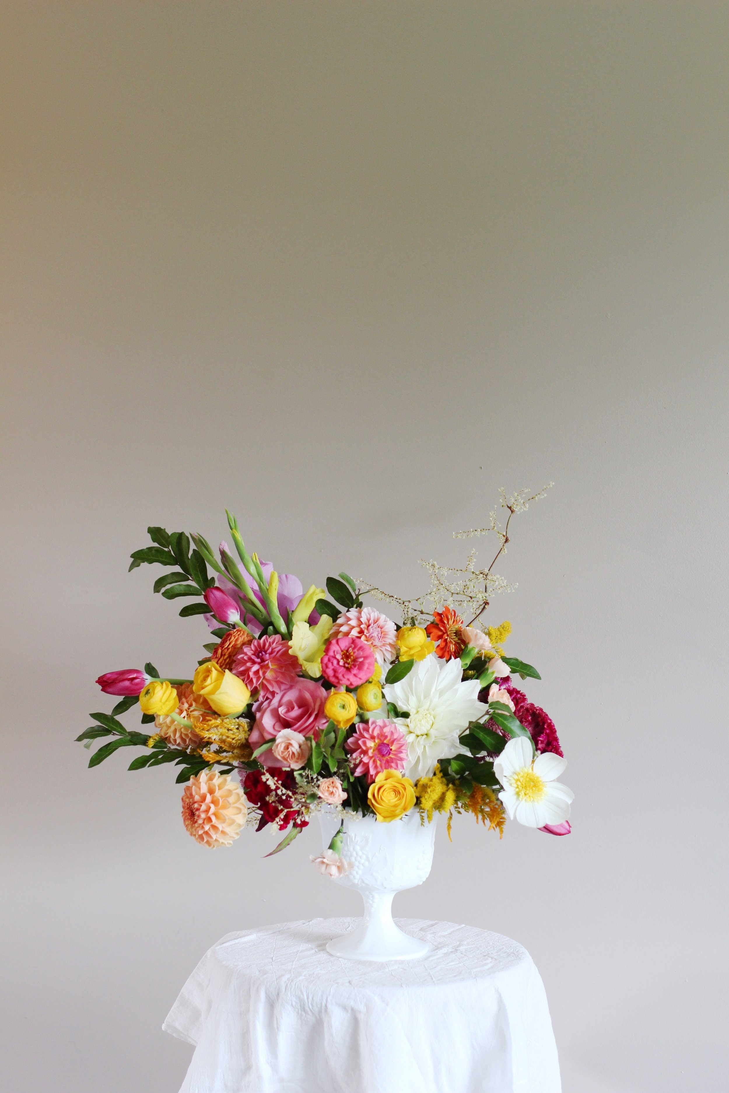 Lemon & Pink Lollipop | Bouquet, Compote arrangement, yellow ranunuculus, dinner plate dahlia white, pink dahlia, cosmos,