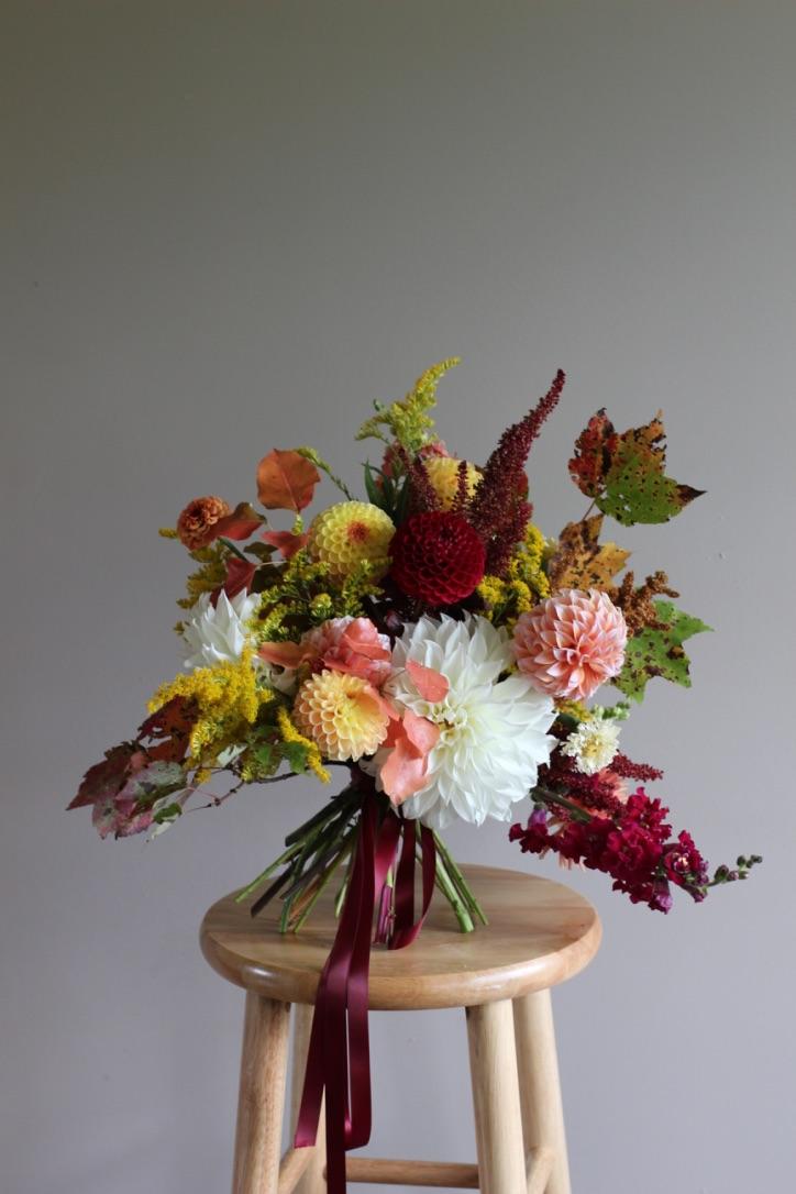 Vibrancy in Autumn | Fall bouquet, cream, white dinner plate dahlia, burgundy, gold, peach | loveshyla.com