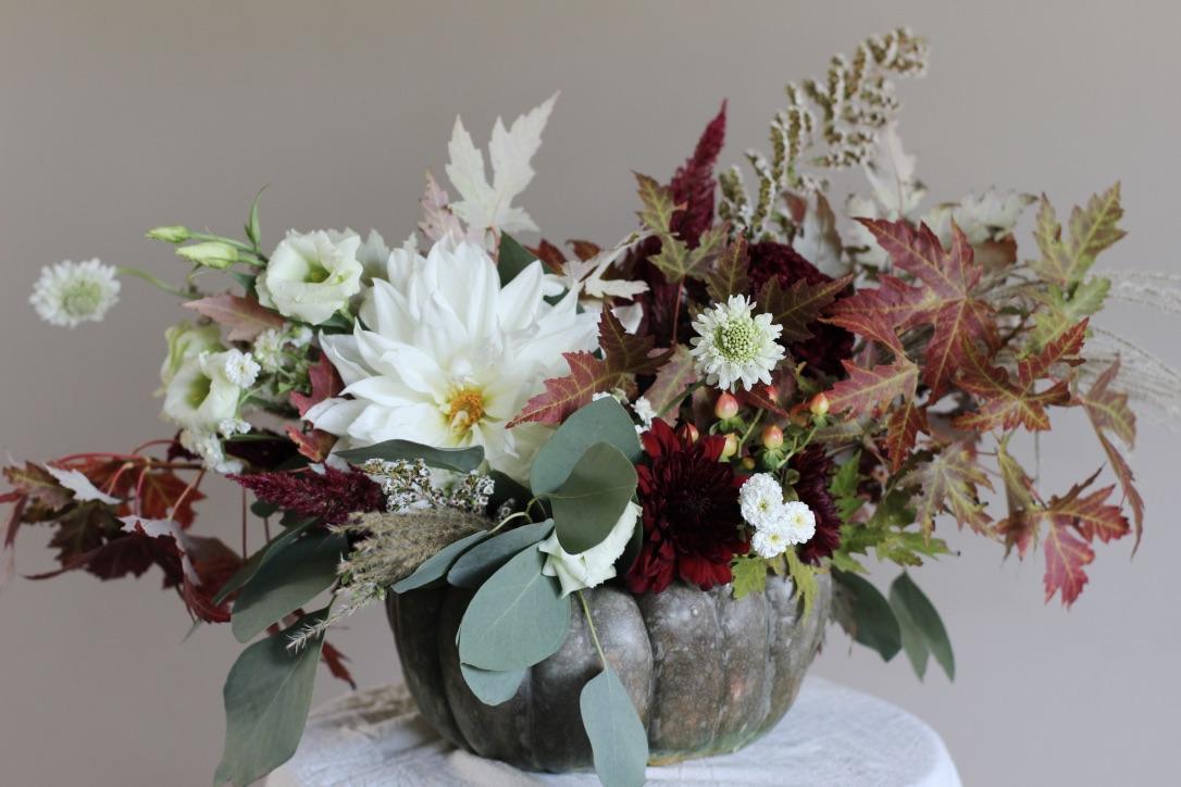 Dusty Green Pumpkin Arrangement | White, burgundy, green, dinner plate dahlia, fall foliage | loveshyla.com