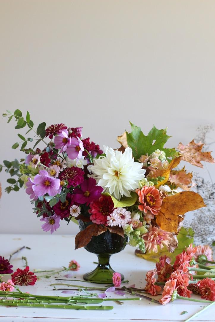 Last Harvest Bouquet | Farmer Florist, compote arrangement, lavender, purple, orange, fall leaves | loveshyla.com