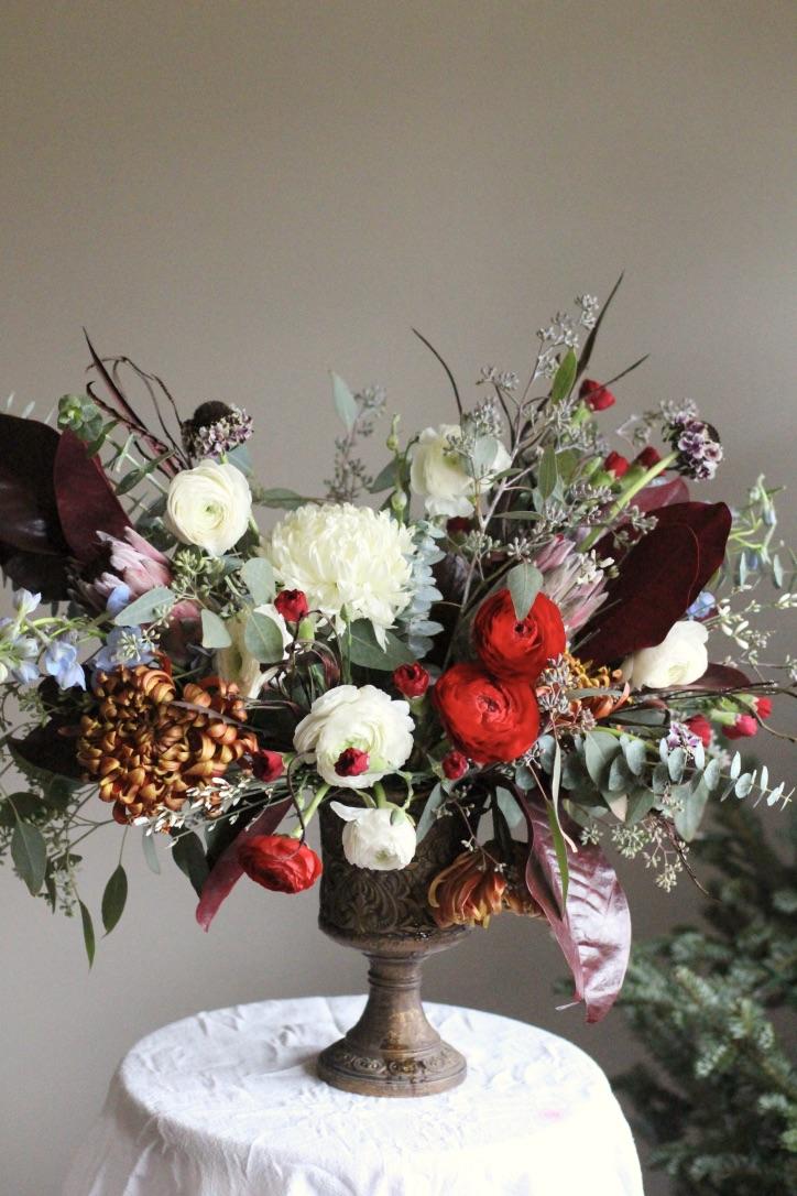 Winter Traditional Bouquet | Red, burgundy, ivory, green, copper, ranunculus, magnolia leaf, eucalyptus | Wedding Florist | Loveshyla.com