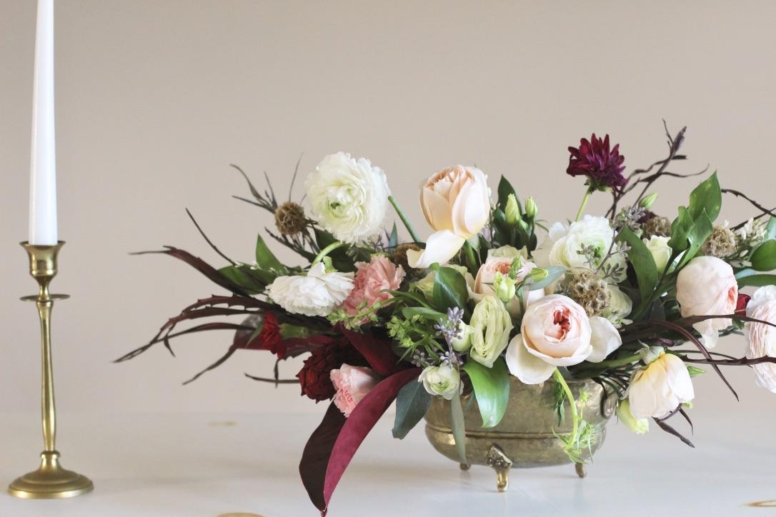 Blush & Burgundy | Compote flower arrangement, blush, oxblood, burgundy, red, garden rose juliet, ranunculus, dahlia, magnolia leaf, lisianthus | Florist: Love Shyla | loveshyla.com