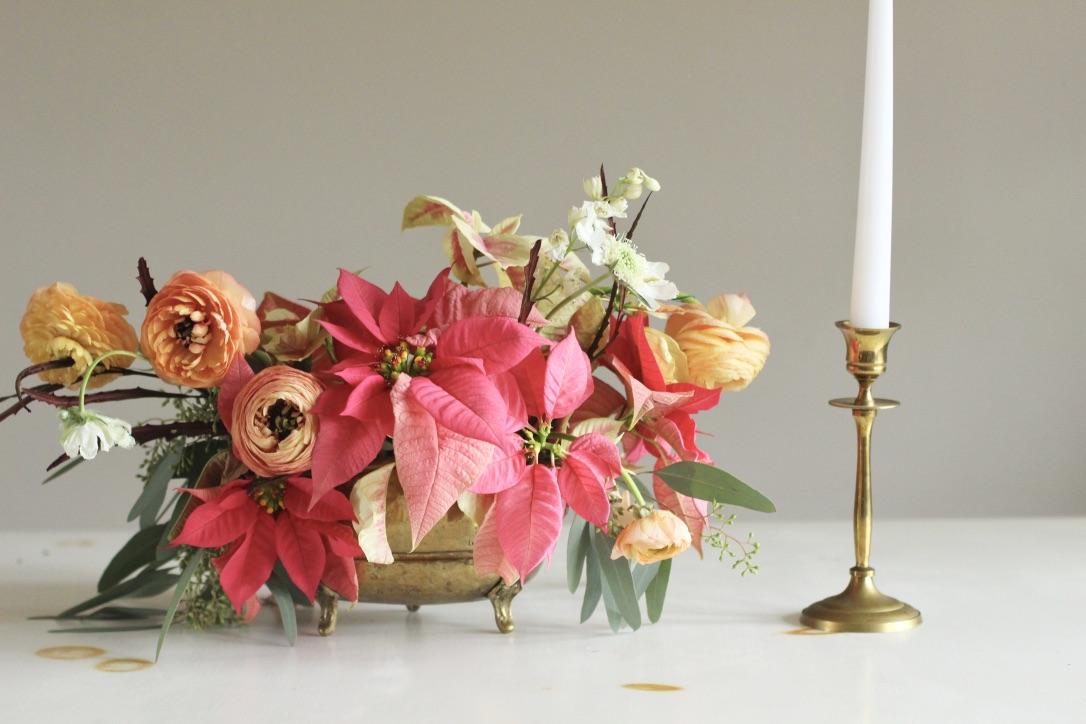 Poinsetta Florals | Christmas, pink, red, orange, salmon, white, green, eucalyptus, ranunculus | Wedding Florist | Loveshyla.com