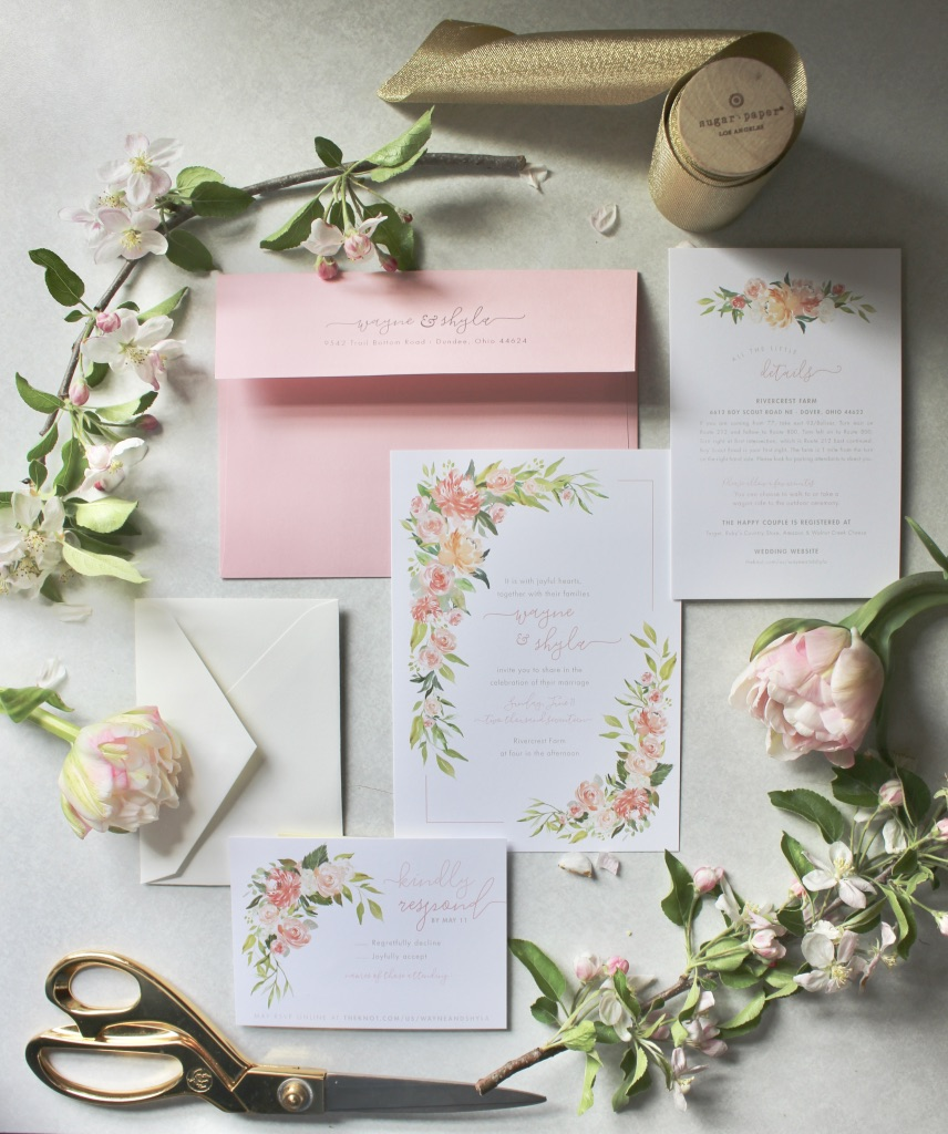 Our Wedding | Spring, June, whimsical, meadow, blush, pink, coral, soft green, ivory, romantic, barn, gold, classic, bridals, bridesmaid, dress, ring, inspiration, planning, invitation suite, styled flat lay | Loveshyla.com